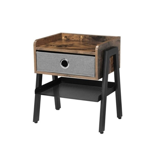 Wooden and Metal Nightstand with Removable Fabric Drawer, Brown and Black