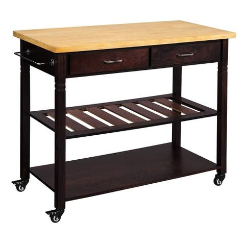Dual Tone Wooden Kitchen Cart with Two Open Shelves and Storage Drawers, Brown