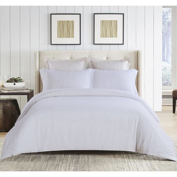 3pc Clipped Jacquard Duvet Cover Set White. Opens flyout.