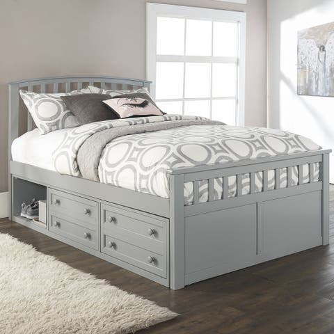 Charlie Wood Full Captain's Bed with 2 Storage Units