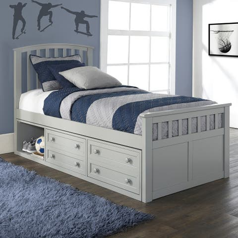 Charlie Wood Twin Size Captain's Bed with Storage