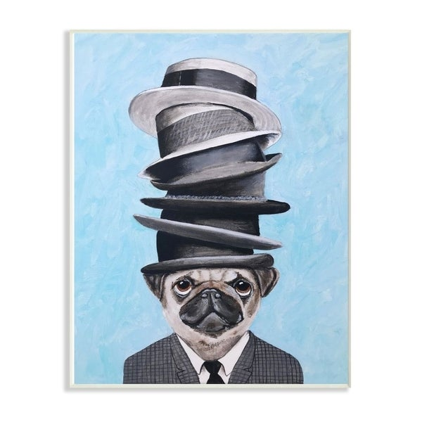 The Stupell Home Decor Pug Dog With Fancy Stacked Hats Wall Plaque Art, 10x15, Proudly Made in USA