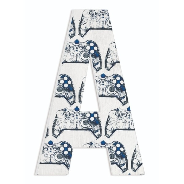 The Stupell Home Decor Navy Blue Gamer Controller Stencil Pattern on White Wash Wood Initial , 12x18, Proudly Made in USA