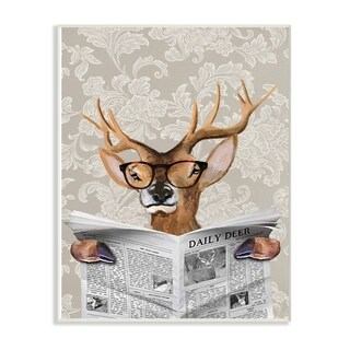The Stupell Home Decor Deer Reading Newspaper With Big Glasses Wall Plaque Art, 10x15, Proudly Made in USA