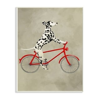 The Stupell Home Decor Dalmatian Dog Riding Red Bicycle Wall Plaque Art, 10x15, Proudly Made in USA
