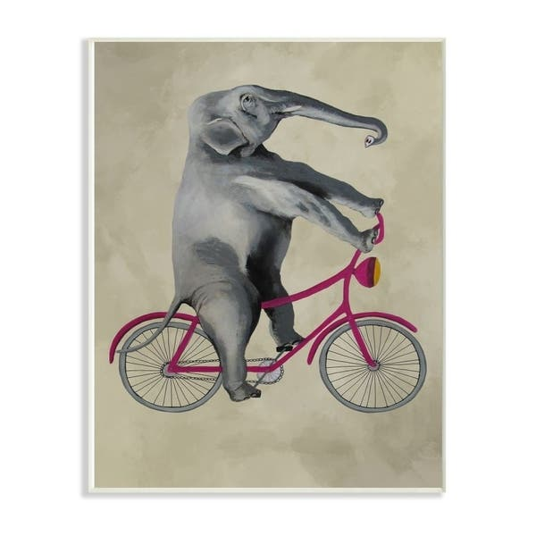 Shop The Stupell Home Decor Elephant On A Bicycle Wall Plaque Art 10x15 Proudly Made In Usa Overstock 28178881