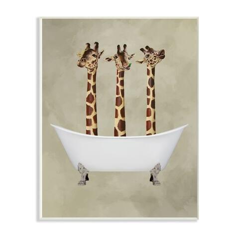 Porch & Den 'Three Giraffes In A Bathtub' Wall Plaque Art - 10x15