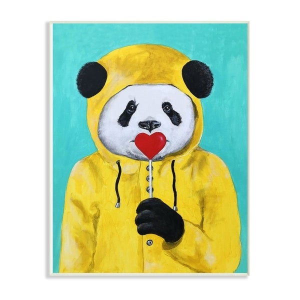 The Stupell Home Decor Yellow Coat Panda With A Lollipop Wall Plaque Art, 10x15, Proudly Made in USA