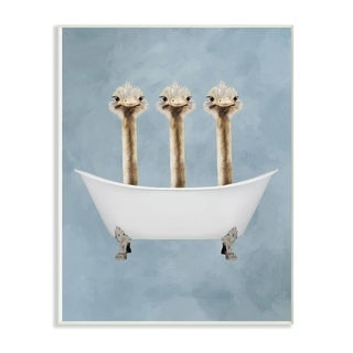 The Stupell Home Decor Three Ostriches In A Bathtub Wall Plaque Art, 10x15, Proudly Made in USA