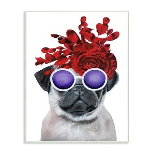 The Stupell Home Decor Pug Dog With Flower Hat and Purple Glasses Wall Plaque Art, 10x15, Proudly Made in USA