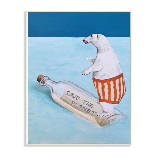 The Stupell Home Decor Save The Planet Polar Bear Wall Plaque Art, 10x15, Proudly Made in USA
