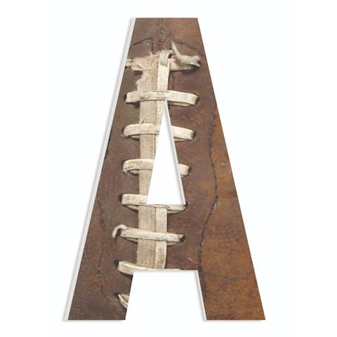 Porch & Den 'Textured Football Lacing Photograph' 18-inch Hanging Initial