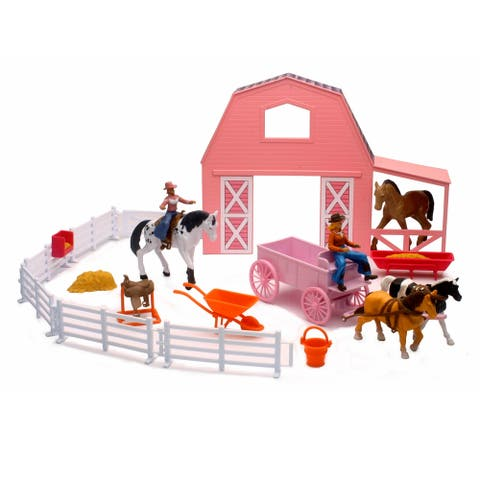 Valley Ranch Pink Barn Horse Set