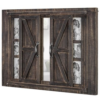 Rustic Wood Photo Collage Picture Frame with Mirror