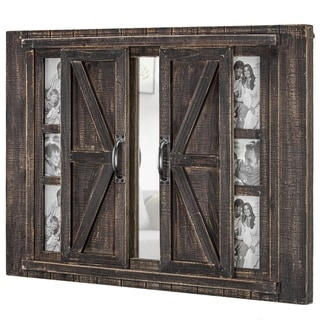The Gray Barn Rustic Wood Photo Collage Picture Frame with Mirror