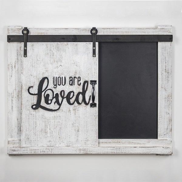 Rustic Wooden Blackboard Wall Hanging Chalk Message Board Storage Hooks Shelf