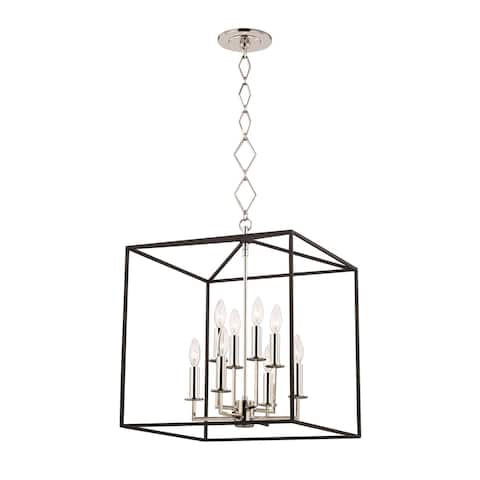 Richie by Becki Owens for Hudson Valley Lighting 8-light Polished Nickel and Textured Black Pendant