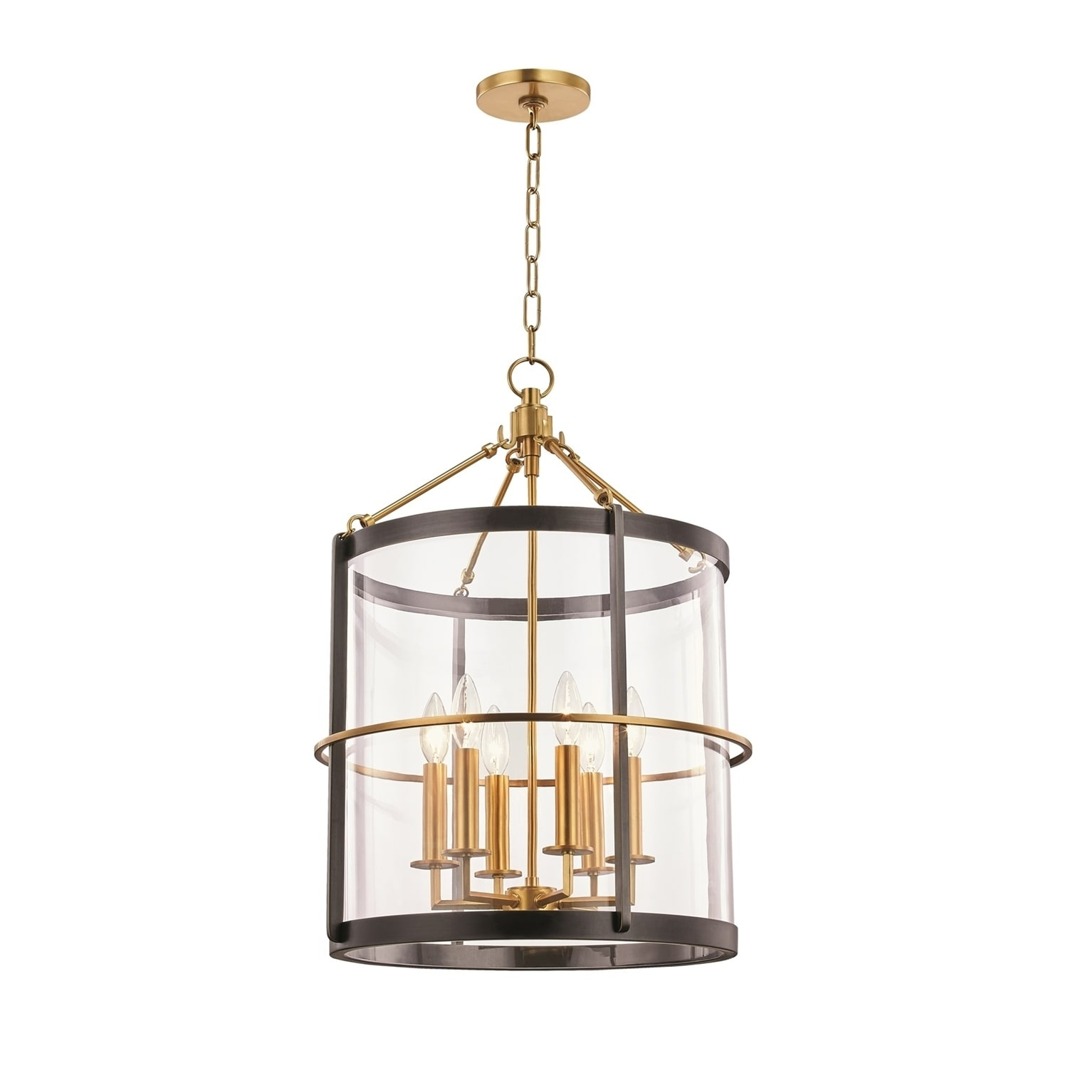 Ren by Becki Owens for Hudson Valley Lighting 6-light Aged Brass and Old Bronze Large Pendant, Clear Glass