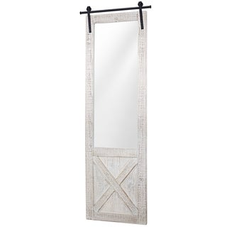 Whitewashed Wood Hanging Barn Door Wall Mirror - White Washed