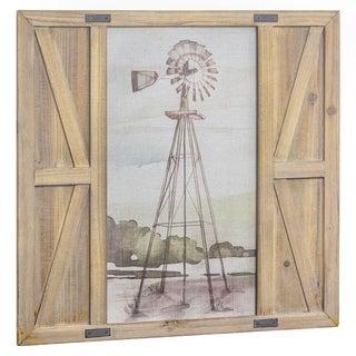 Windmill Print on Canvas Barn Door Wall Art Decor