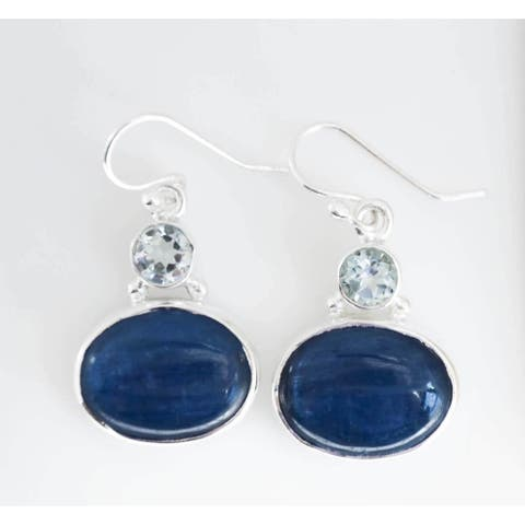 Sterling Silver Blue Topaz and Kyanite Earrings (India)