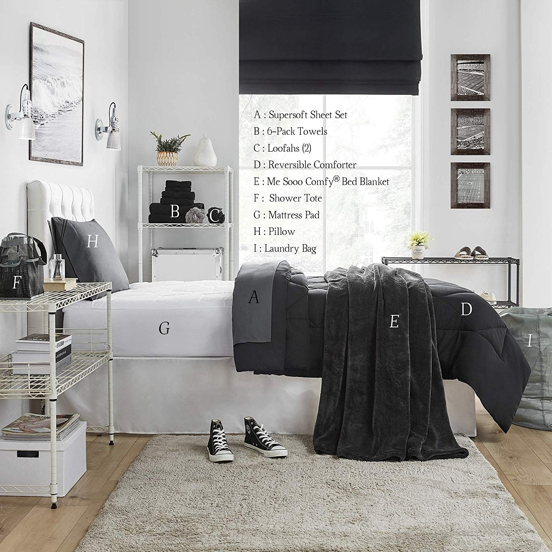 Shop Porch & Den Harglow Black Twin XL College Dorm Bedding Set