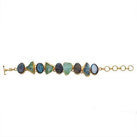 Handmade Gold-overlay Labradorite, Green Fluorite Bracelet (India)