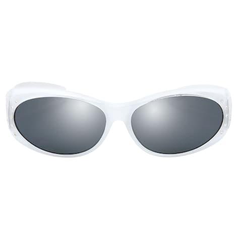 Polarized Wrap Around Sunglasses w Rhinestone