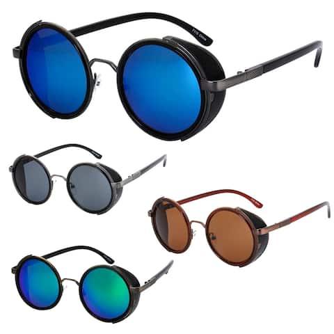 Steampunk Side Shield Fashion Round Frame Sunglasses