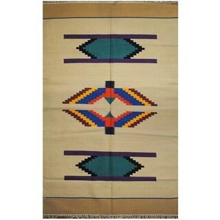Handmade Wool Kilim (India) - 4' x 6'