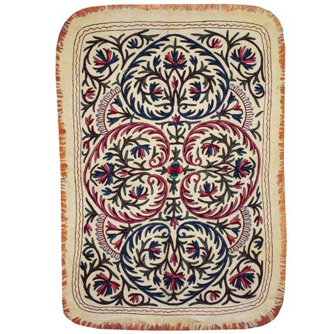 Handmade One-of-a-Kind Suzani Namad Wool Kilim (Uzbekistan) - 4' x 5'10