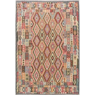 "Southwestern Kilim Oriental Wool Hand-Woven Turkish Modern Area Rug - 9'9"" x 6'10"""