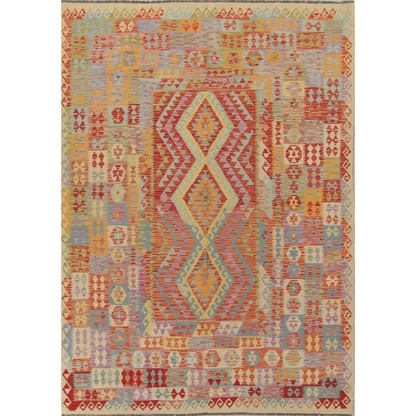 "Oriental Kilim Handmade Southwestern Modern Turkish Area Rug - 9'10"" x 6'8"""