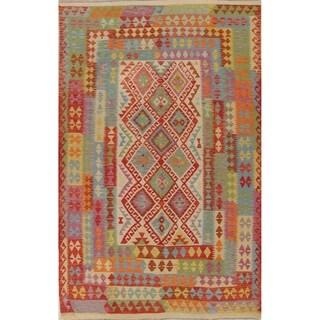 "Oriental Wool Kilim Southwestern Hand-Woven Turkish Modern Area Rug - 9'7"" x 6'6"""