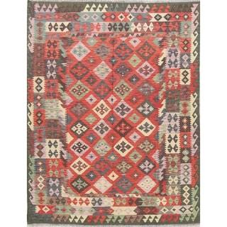 "Kilim Oriental Turkish Hand Woven Wool Southwestern Modern Area Rug - 8'4"" x 6'5"""