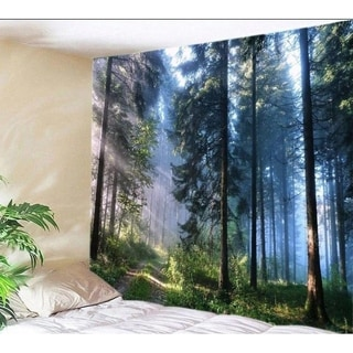 """Polyester Tapestry Mandala Wall Hanging Forest 82"""" x 59"""""""