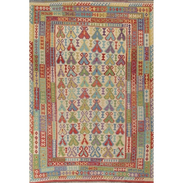 "Oriental Kilim Wool Hand-Woven Southwestern Persian Area Rug - 11'9"" x 8'1"""