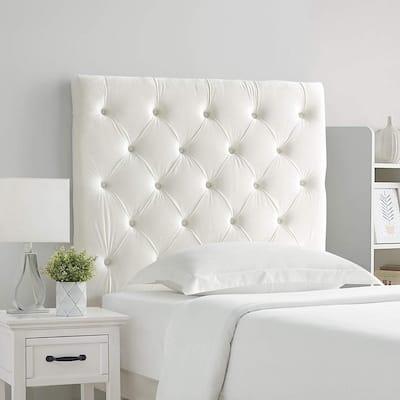 Tufted Velvet Plush College Dorm Headboard - White
