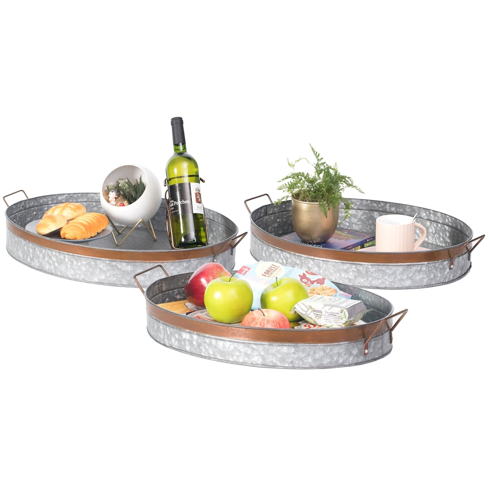 Galvanized Metal Oval Rustic Serving Tray With Handles Overstock 28179553