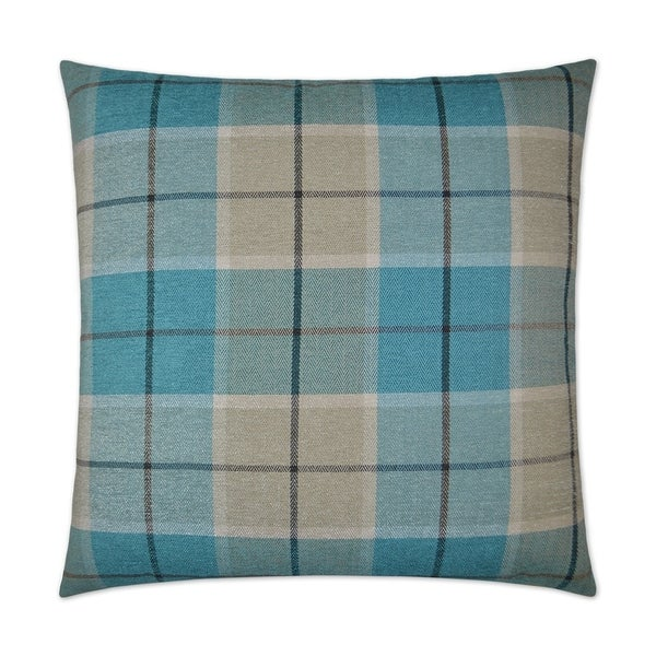 Penn Plaid Turquoise Feather Down 24-inch Decorative Throw Pillow