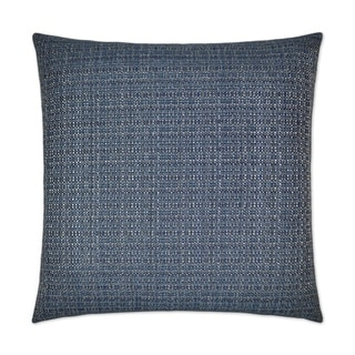 Jackie-O-Denim Blue Textured Fabric/Feather Down 24-inch Decorative Square Throw Pillow with Hidden Zipper