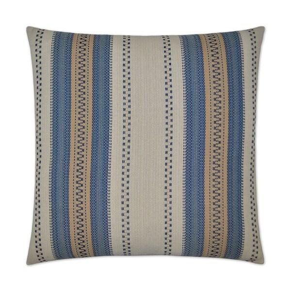 Rigadoon Blue Feather Down Hidden Zipper 24-inch Decorative Throw Pillow