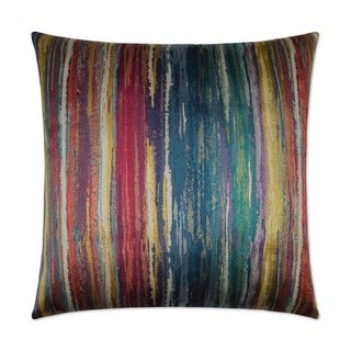 Roy G Biv Carnival Multicolored Fabric/Feather Down Decorative Square Throw Pillow with Hidden Zipper