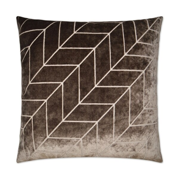 Villa-Mocha Feather Down Hidden Zipper 24-inch Decorative Throw Pillow