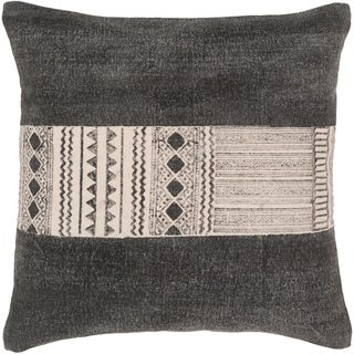 Kushal Bohemian Black and Cream Cotton 20-inch Poly or Feather Down Filled Throw Pillow