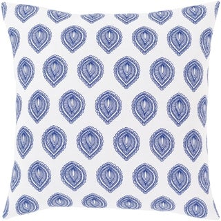 Oldrik Bohemian Blue and White Cotton 18-inch Poly or Feather Down Filled Throw Pillow
