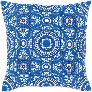 Lapis Bohemian Blue Cotton 18-inch Poly or Feather Down Filled Throw Pillow