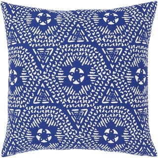 Amrin Bohemian Dark Blue/White Cotton Cover Poly or Feather Down Filled 18-inch Throw Pillow