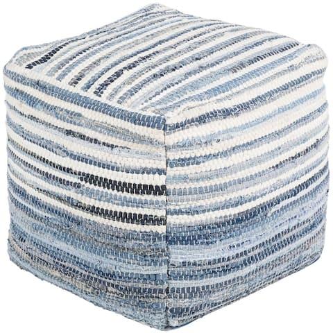 Albano Hand-woven Navy/Blue/White Cotton Pouf