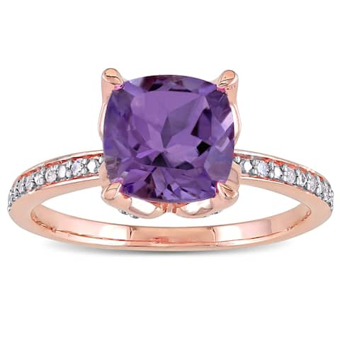 Miadora 10k Rose Gold Cushion-Cut Amethyst and Diamond Ring